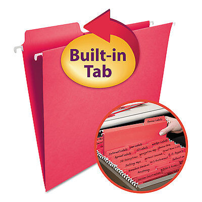 Smead Fastab Hanging File Folders Letter Red 20box 64096