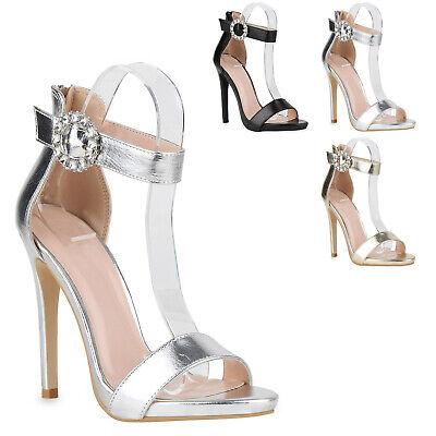 Damen Abiball Sandaletten High Heels Strass Stiletto Hochzeit 825953 Trendy Neu High Stiletto Heel