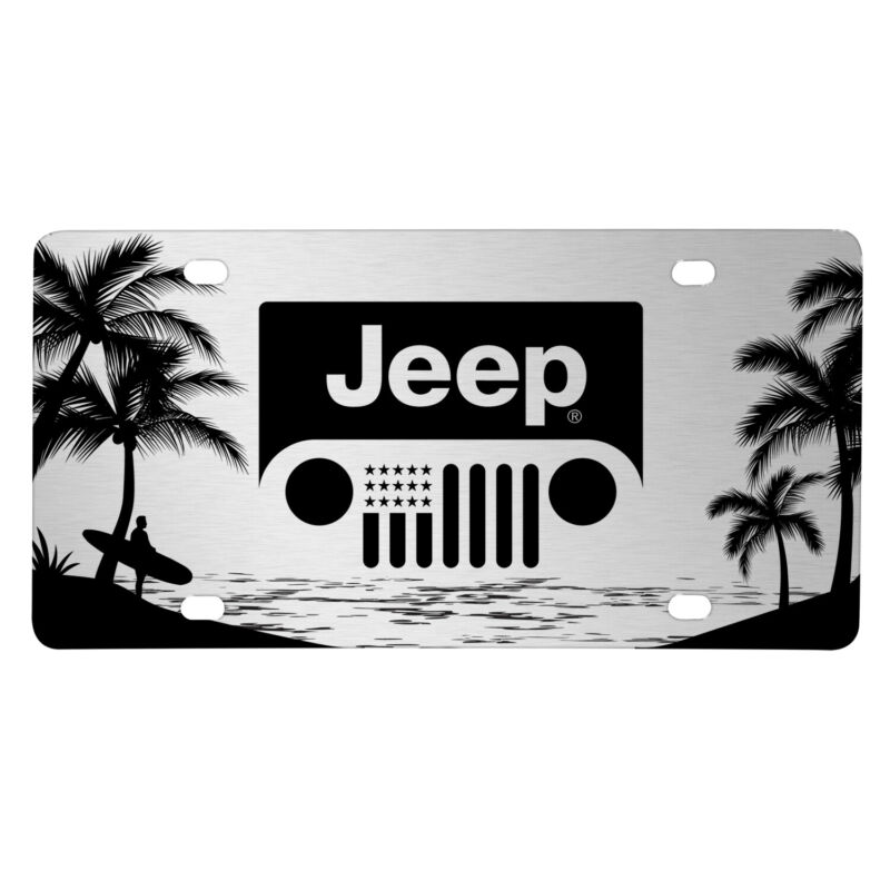 Jeep Grill Logo on Beach Ocean Palm Trees Graphic Silver Aluminum License Plate