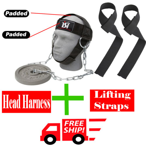 Gym Weight Lifting Head Neck Harness + Lifting Straps Training Fitness Work Out
