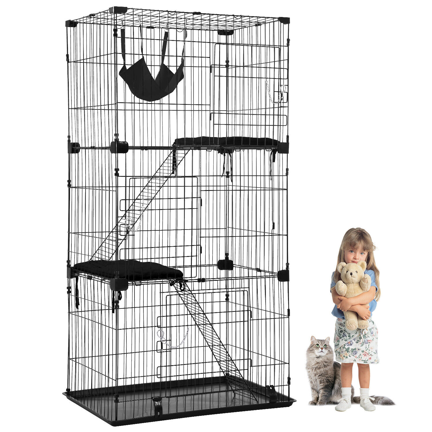Cat Cage Cat Crate Kennel Cat Playpen with Free hammock Perching Shelves 67 inch Carriers & Crates