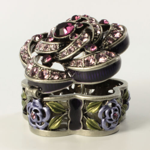 Jeweled Antique Style Floral Faberge Trinket Box With Crystals In Fuchsia