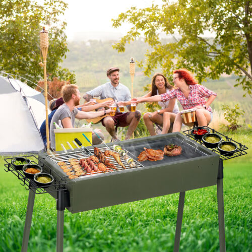 """30""""BBQ Barbecue Charcoal Grill Stainless Steel Foldable Back"""