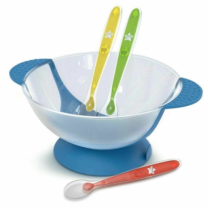 Baby Toddler Feeding Suction Bowl Gift Set w. 3 Soft Tip Spoons BPA PVC Free