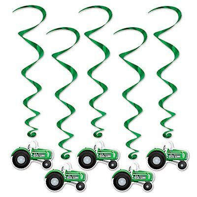 Green Tractor Farm Whirls Danglers Hanging Birthday Party Decorations 5 Pc