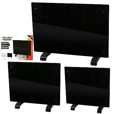 GLOWMASTER BLACK GLASS FREE STANDING WALL MOUNTED PORTABLE ELECTRIC PANEL HEATER