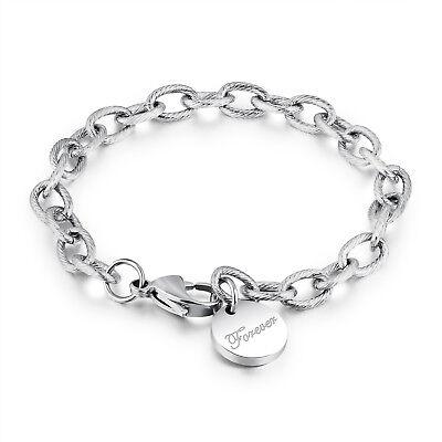 Edelstahl Damen Armband mit Anhänger FOREVER Bettelarmband Armkette Silber 18 cm