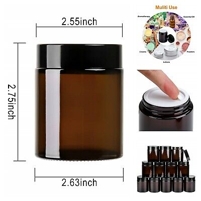 Cosmetic Containers Cream Jars Amber Round Glass Jars With Lids 4 Oz Pack Of - Decorative Glass Jars With Lids