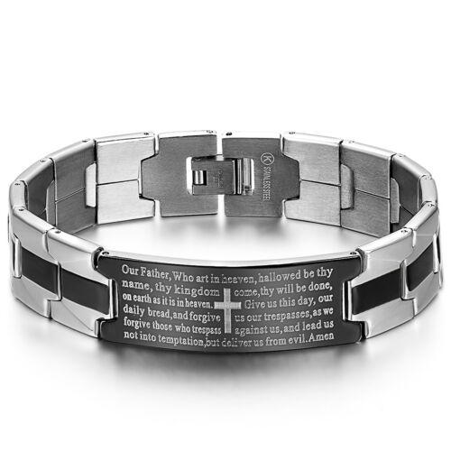 Bracelet - Stainless Steel Black Silver-Tone Religious Cross English Prayer Mens Bracelet