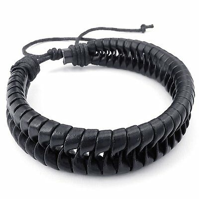 MENDINO Men's Leather Bracelet Handmade Braided Woven Bangle Black Adjustable