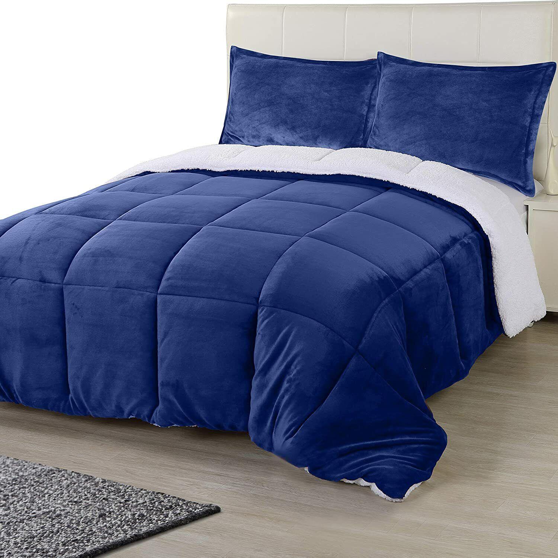 All Season Reversible Fleece Sherpa Comforter Set Utopia Bedding 1