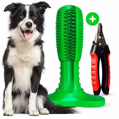 Dog Toothbrush Chew Toy for Easy Teeth Cleaning with Nail Clippers for Grooming