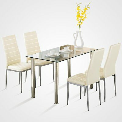 5 Piece Dining Table Set White Glass and 4 Chairs Faux Leather Kitchen -