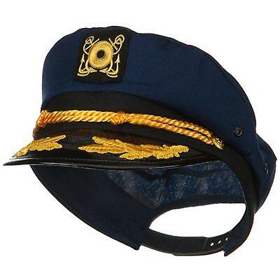 Marineblau Yacht Kapitän Hut mit Rührei Kostüm Blau Kappe Matrose Erwachsene (Erwachsene Blau Yacht Hut)