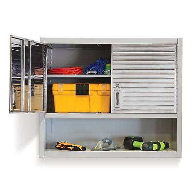 Garage Wall Tool Cabinet 2 Door Stainless Steel Storage With Key Lock Heavy Duty