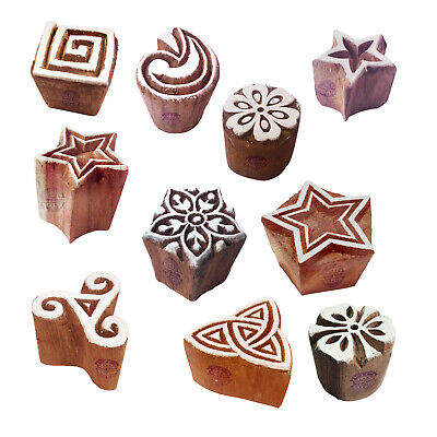 Clay Print Stamps Attractive Small Geometric Pattern Wood Blocks Set Of 10