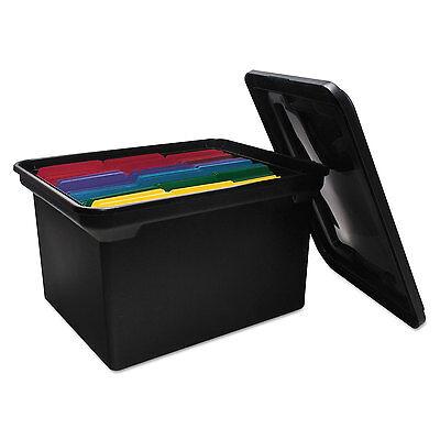 Advantus File Tote Storage Box Wlid Legalletter Plastic Black 34052