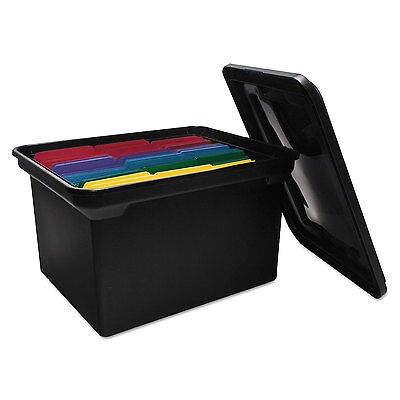 Advantus File Tote Storage Box w/Lid Legal/Letter Plastic Black 34052