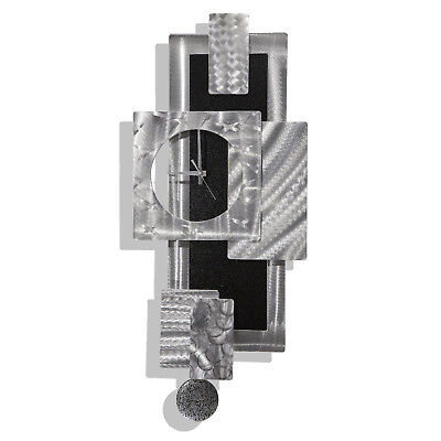 Abstract Pendulum Wall Clock, Silver & Black Modern Metal Art Decor by Jon Allen