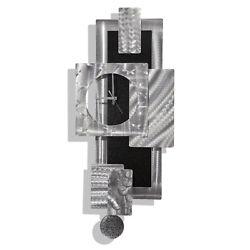 Modern Metal Wall Clock Art Etched Silver Black Decor Sculpture Jon Allen