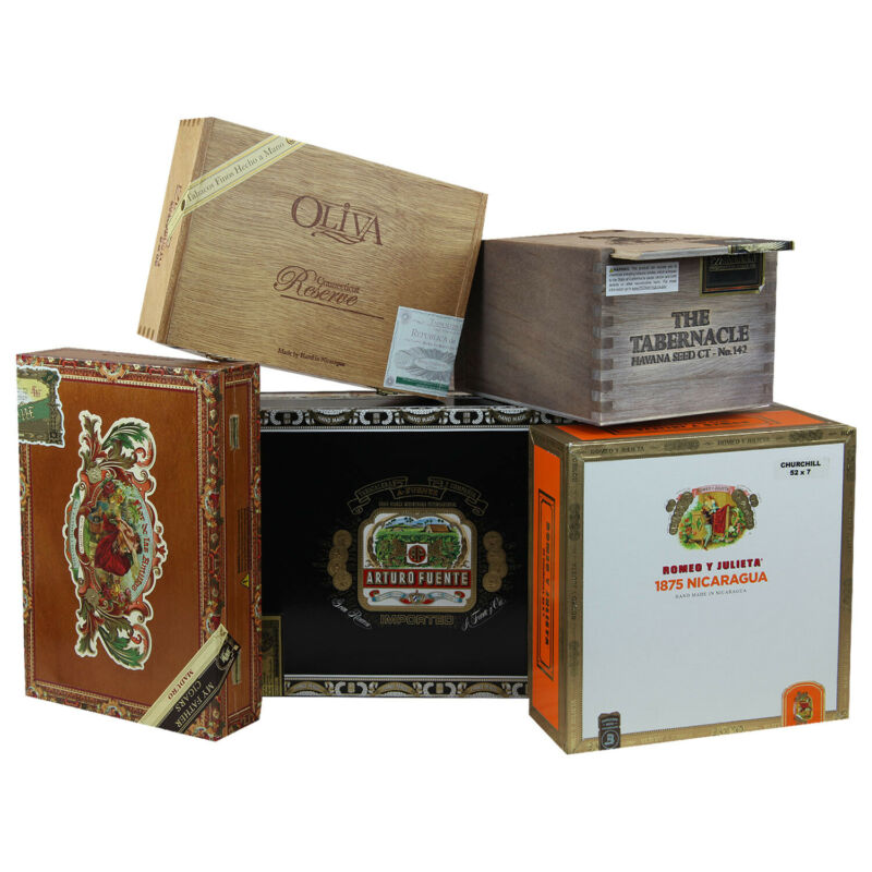 SET OF 5: Empty ASSORTED Cigar Boxes