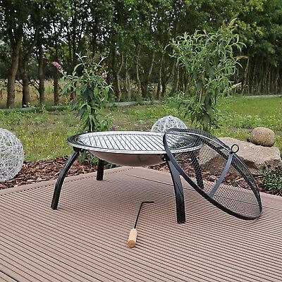 Feuerschale Feuerstelle Edelstahl mit Grillrost Gartenfeuer Grillschale Garten Feuerstelle Grillrost