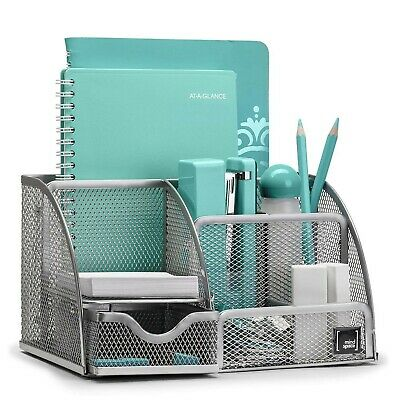Office Desk Mesh Organizer With 6 Compartments Drawer Pen Pencil Holder