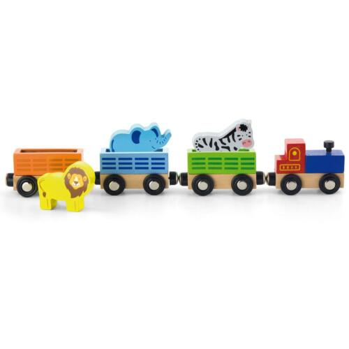 Details About Viga Wooden Railway Track Zoo Animal Train Carriages Briothomasbigjigselc
