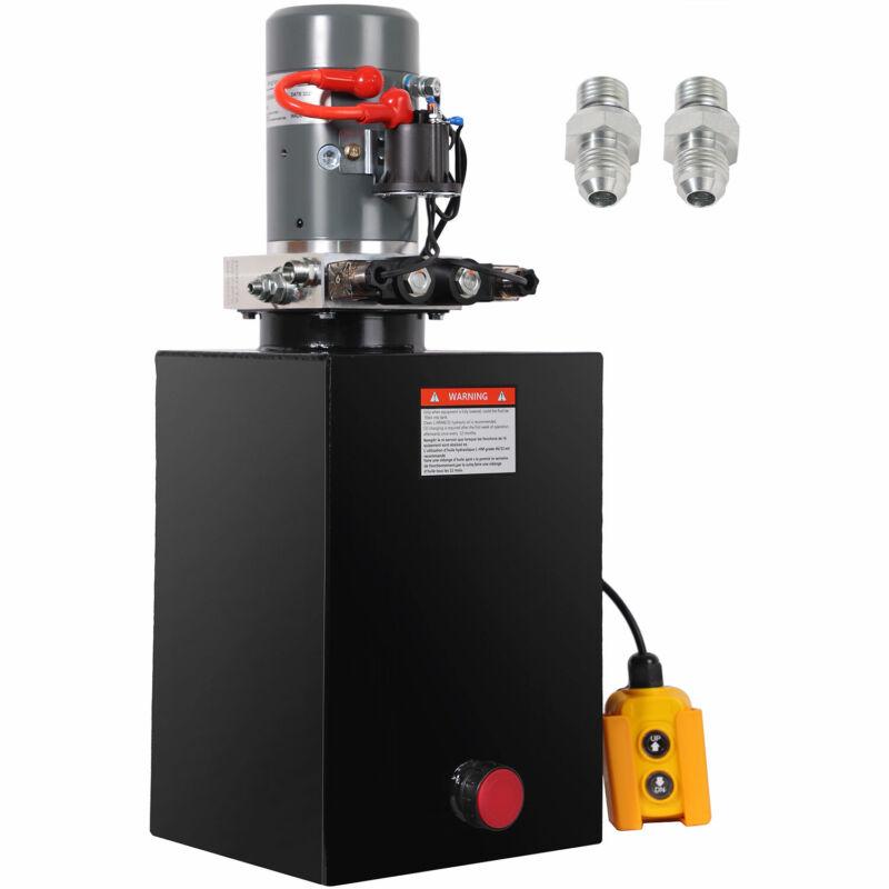 HONYTA 15 Quart Hydraulic Pump Dump 12V DC Trailer Double Acting Power Unit