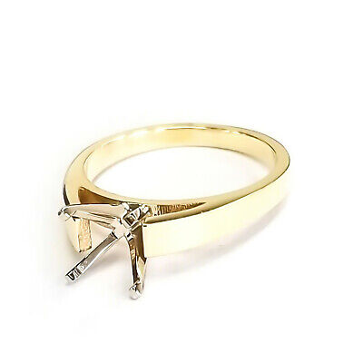 14K Yellow Gold Cathedral Engagement Ring Solitaire Setting Semi Mount Mounting