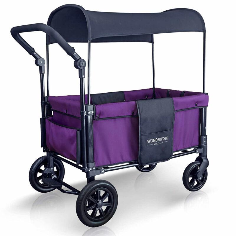 WONDERFOLD 2 Passenger Push Stroller Wagon with Canopy, Cobalt Violet (Open Box)