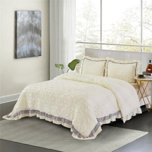 HIG Elsa Pintuck Comforter Set - Contrast Color Ruffled- Shabby Chic 3pc Bedding