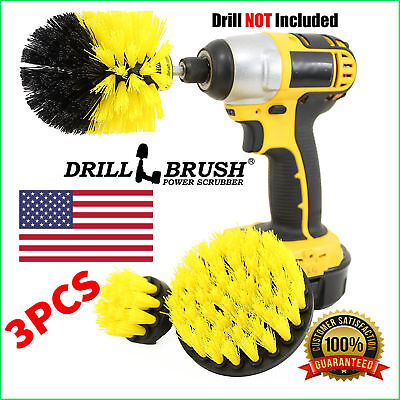 3Pcs/Set Tile Grout Power Scrubber Cleaning Drill Brush Tub Cleaner Combo Yellow