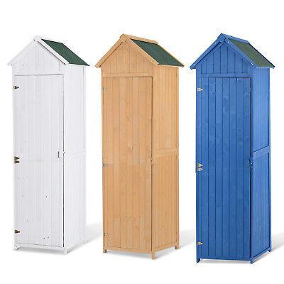 Wooden Garden Shed Tool Storage Outdoor Cabinet Unit 3 Shelves Asphalt Roof