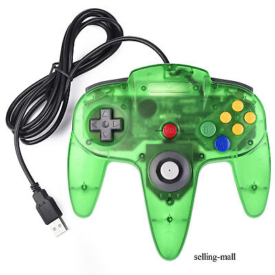 N64 USB Controller Classic Joystick Wired 64-Bit For PC Windows and MAC OS Green (Classic Joystick For Pc)