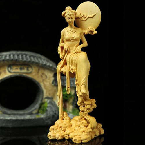 Boxwood Wood Carving Chang'e Statue Mythological Figure Sculpture Collection New