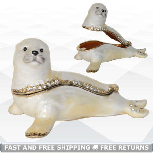 Seal Miniature Pewter Jewelry Trinket Box Hinged Lid Enamel Bejeweled Rhinestone