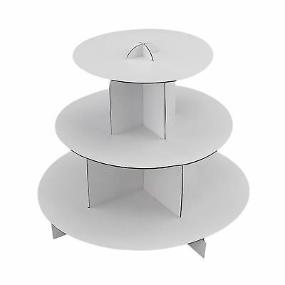 2pc Cupcake Display White Round Cardboard Pastry Dessert Tower (Cardboard Cupcake Stand)