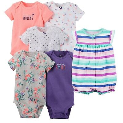 NWT 6-Pc Lot of Carter's Baby Girl Short-sleeve Bodysuits & Romper NB Newborn