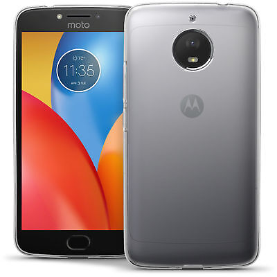Clear Slim Gel Case and Glass Screen Protector for Motorola Moto E4 Plus 2017