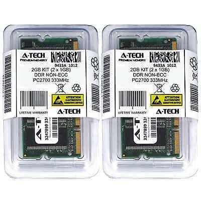 Atech 2GB Kit Lot 2x 1GB DDR Laptop PC2700 2700 333 333mhz 200-pin Memory Ram