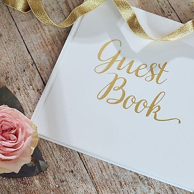 Wedding Guest Book, Birthday, Christening, Party - Guestbook White & Gold (Wedding Book)