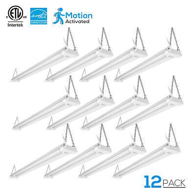 40W 4ftLinkable LED Motion Activated Utility Shop Light, 4000K Daylight, 12Pack (Motion Pendant Light)