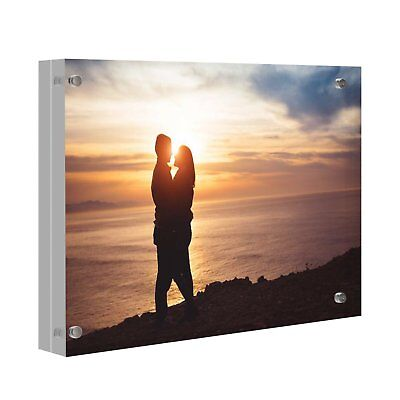 Acrylic Photo Holders - Lightweight Acrylic Crystal Photo Frame Trumpet Clear Desk Picture Frame Holder