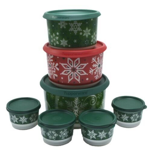 Tupperware One Touch Snowflake Christmas Canisters with Snack Cups 7 Piece Set