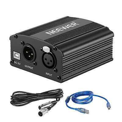 Neewer 1-Channel 48V Phantom Power Supply with USB Cable for Recording Equipment