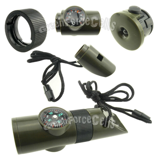 7 in1 Camping Survival Whistle Thermometer Compass Fire Magnifier LED Flashlight
