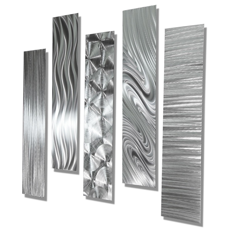 Large Metal Wall Art Multi 10 Piece Set Ultra Modern Silver Decor by Jon Allen