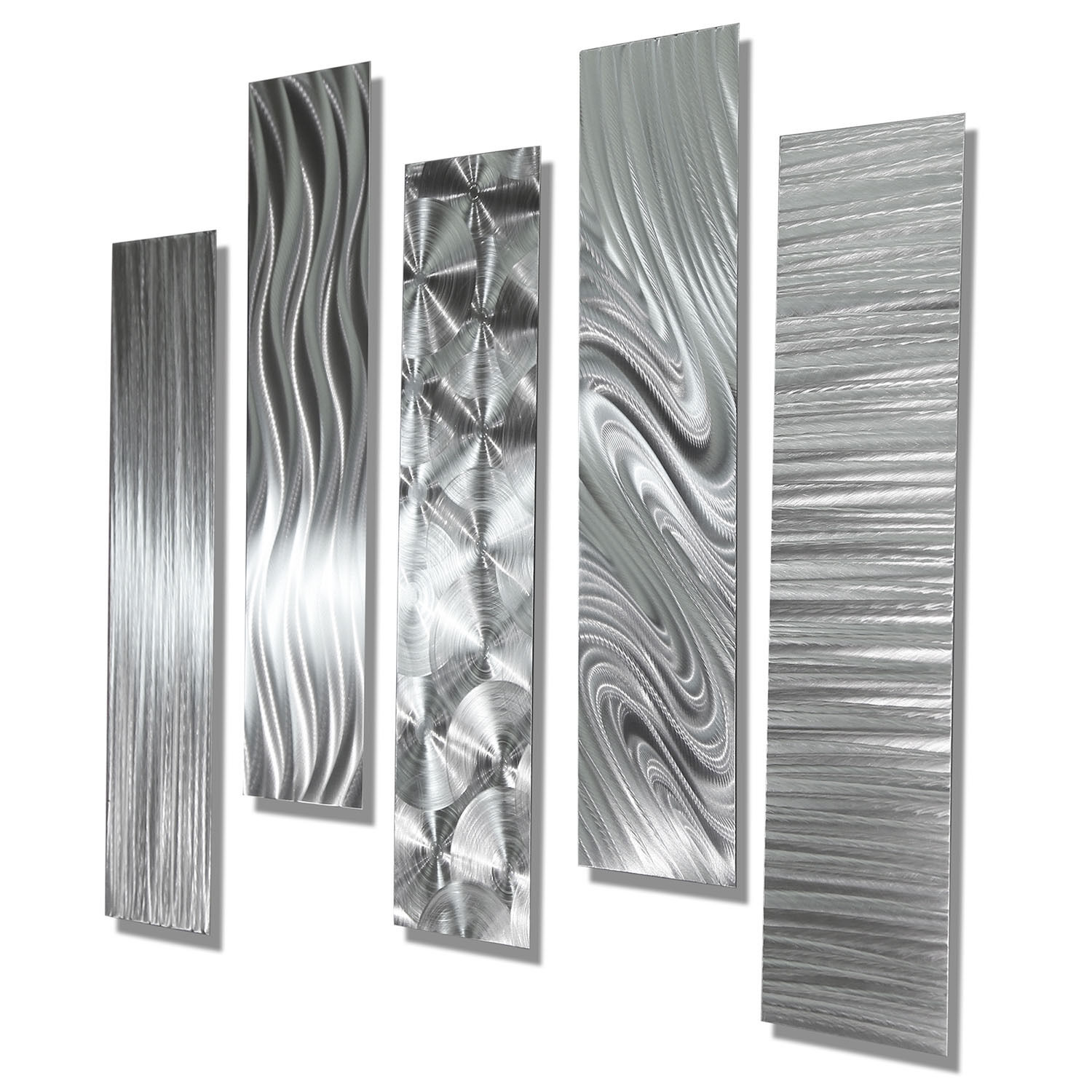 Image of: Modern Abstract Large Metal Wall Art 5 Panels Contemporary Decor Jon Allen Ebay