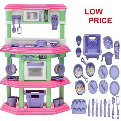 Pretend Kitchen Play Set for Kids Cooking Food Toy Plastic Toddler Girl Set Kit